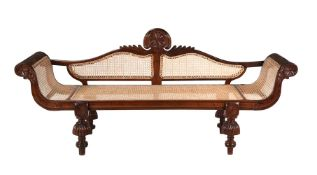 An Anglo Indian caned hardwood day bed or settee