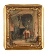 Attributed to Charles Josi (British active 1827 - 1851), Horse in a blacksmith's forge