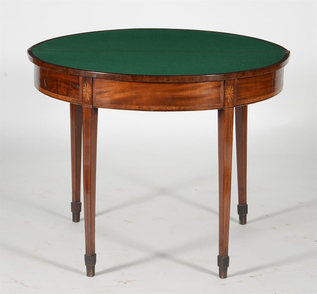 A George III mahogany and satinwood banded folding card table - Image 3 of 3