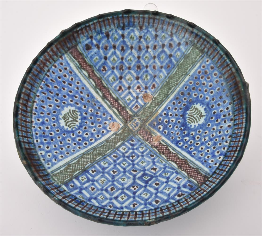 Two underglaze painted earthenware dishes - Image 3 of 9