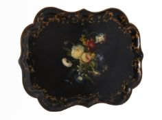 A Victorian black lacquered and painted papier mache tray