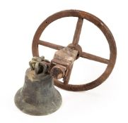 A cast-bronze bell and iron clapper