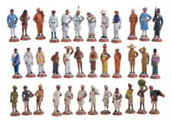 A group of 36 painted plaster figures depicting the Indian social classes or castes
