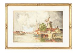 Louis van Staaten (Norris Fowler Willatt) (British 1859-1924), A Windmill beside a Dutch canal; Haa