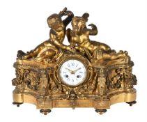A French giltwood mantel clock, Raingo Freres, Paris,