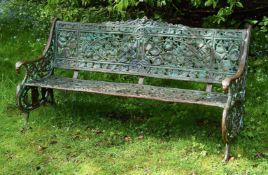 A cast iron garden bench
