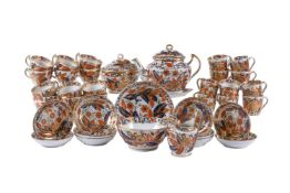 A Chamberlain's Worcester part tea and coffee service decorated with a Tobacco-Leaf pattern