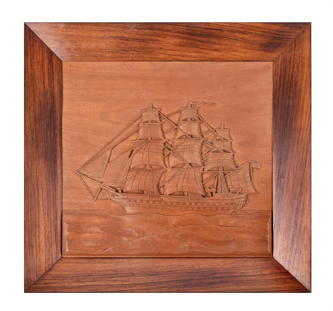 A set of five nautical Indian carved teak and hardwood wall panels - Image 4 of 5