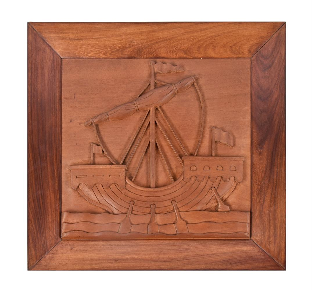 A set of five nautical Indian carved teak and hardwood wall panels - Image 2 of 5