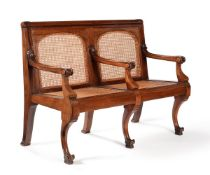 A Victorian mahogany and canework hall seat or bench