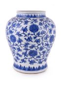 A large Chinese blue and white jar