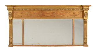 A Victorian giltwood overmantel wall mirror