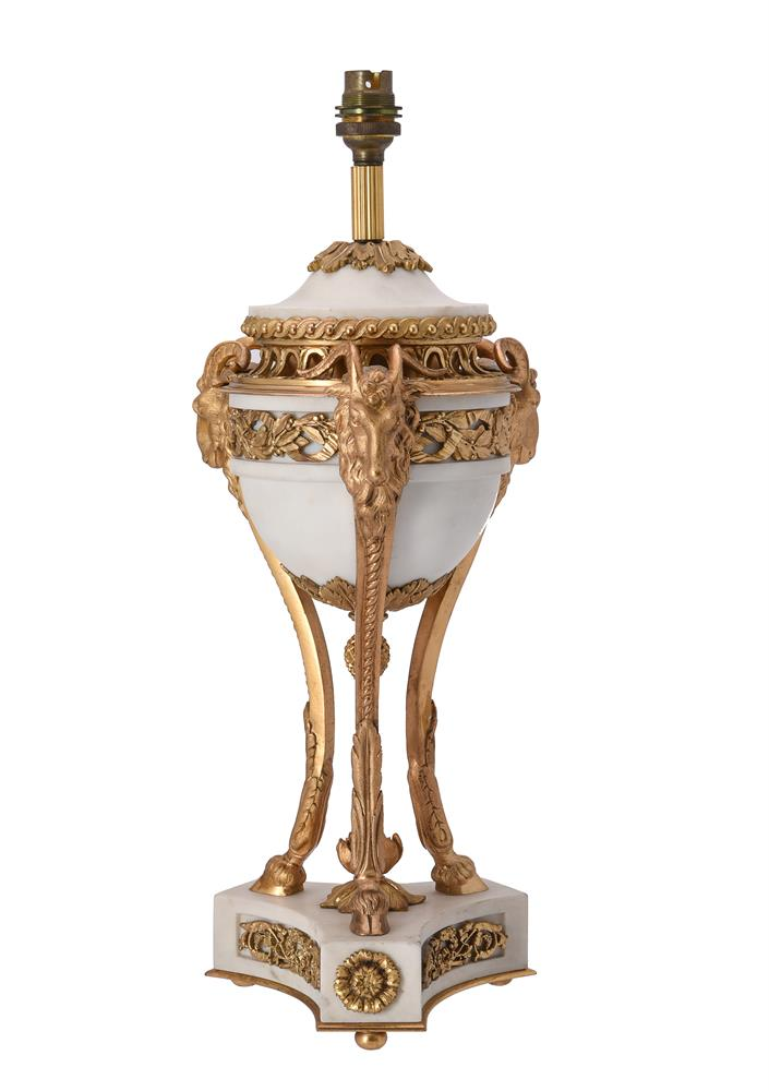 A French marble and gilt metal table lamp