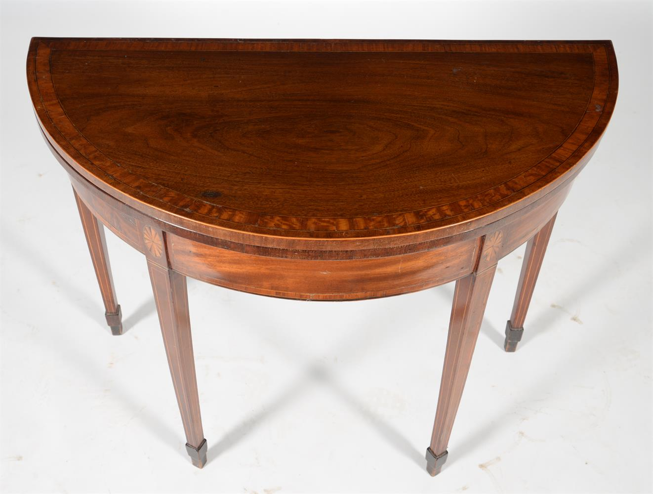 A George III mahogany and satinwood banded folding card table - Image 2 of 3