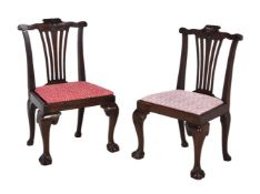 A pair of mahogany low side chairs
