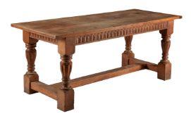 An oak refectory table in Jacobean style