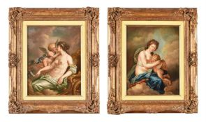 Continental School (19th century), Venus and cupid, a pair
