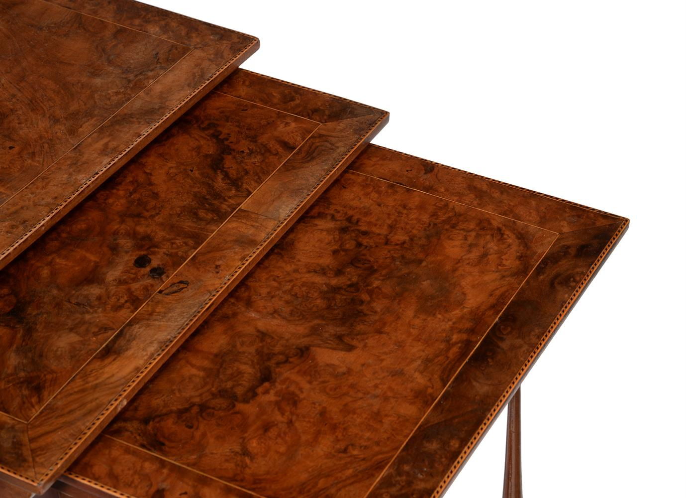 A nest of three burr walnut and chequer banded occasional tables - Image 3 of 3