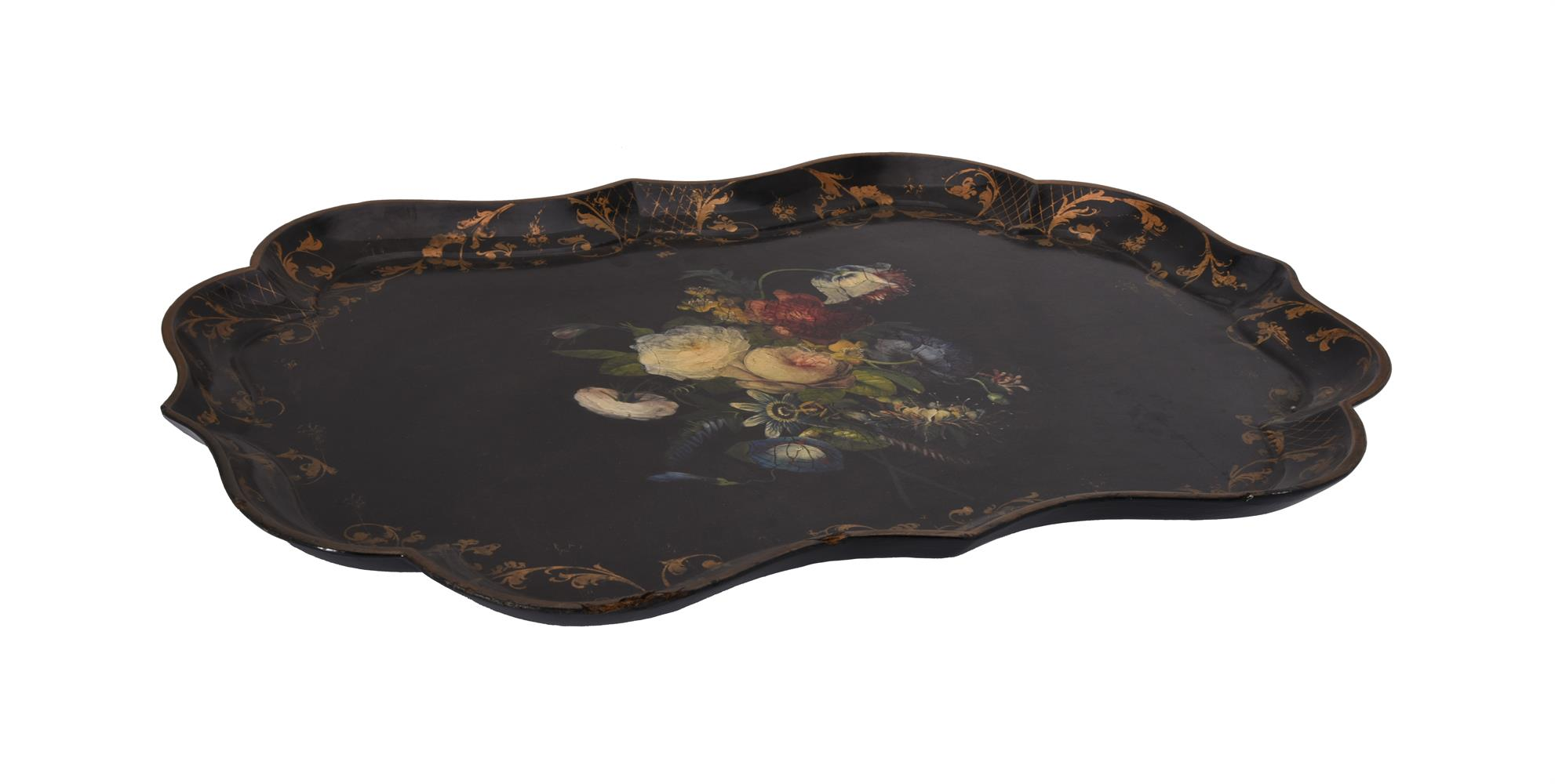 A Victorian black lacquered and painted papier mache tray - Image 2 of 2