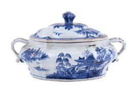 A Chinese blue and white tureen and cover