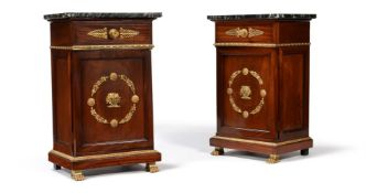 A pair of French mahogany and giltmetal mounted bedside cabinets