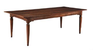 A Continental oak and walnut refectory dining table