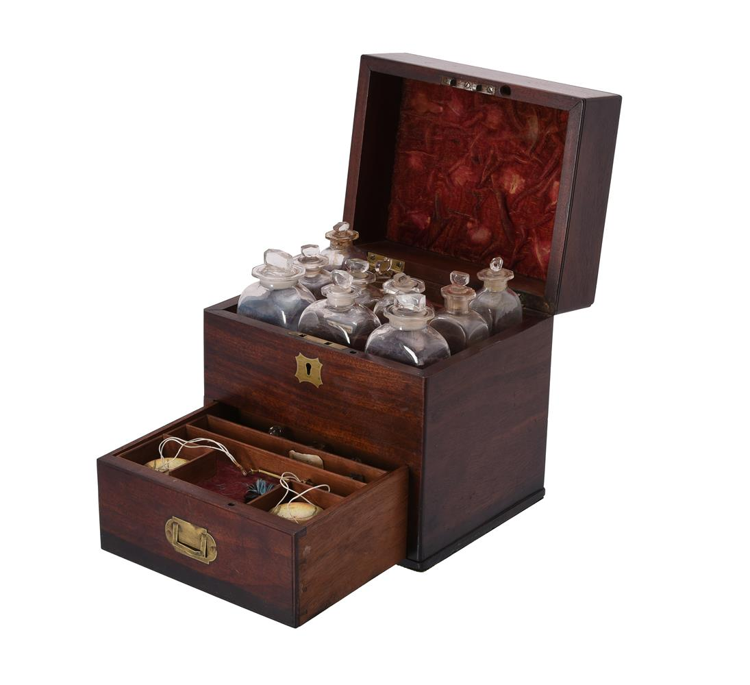 An early Victorian mahogany and brass inlaid apothecary's box