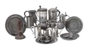 A collection of various items of pewter and associated wares
