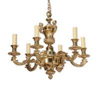 A gilt metal six light chandelier