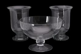 A large glass footed bowl