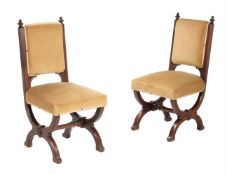 A pair of early Victorian oak side chairs