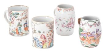 Four Chinese famille rose mugs