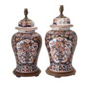A pair of modern Chinese Imari porcelain lampbases