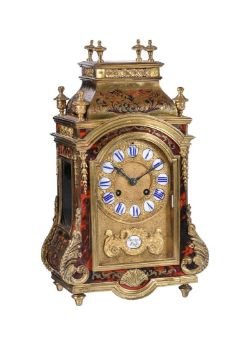 Y A French tortoiseshell and 'Boule' marquetry mantel clock