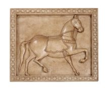 An Indian sculpted marble panel