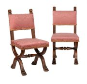 A pair of Victorian walnut Renaissance Revival hall chairs