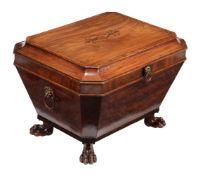 A George IV mahogany and inlaid cellaret