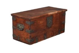 A Dutch Colonial teak and brass mounted trunk