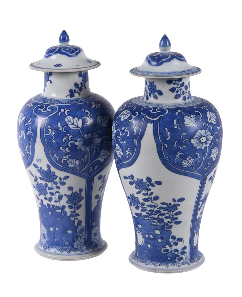 Two Chinese 'Shipwreck' blue and white vases and covers