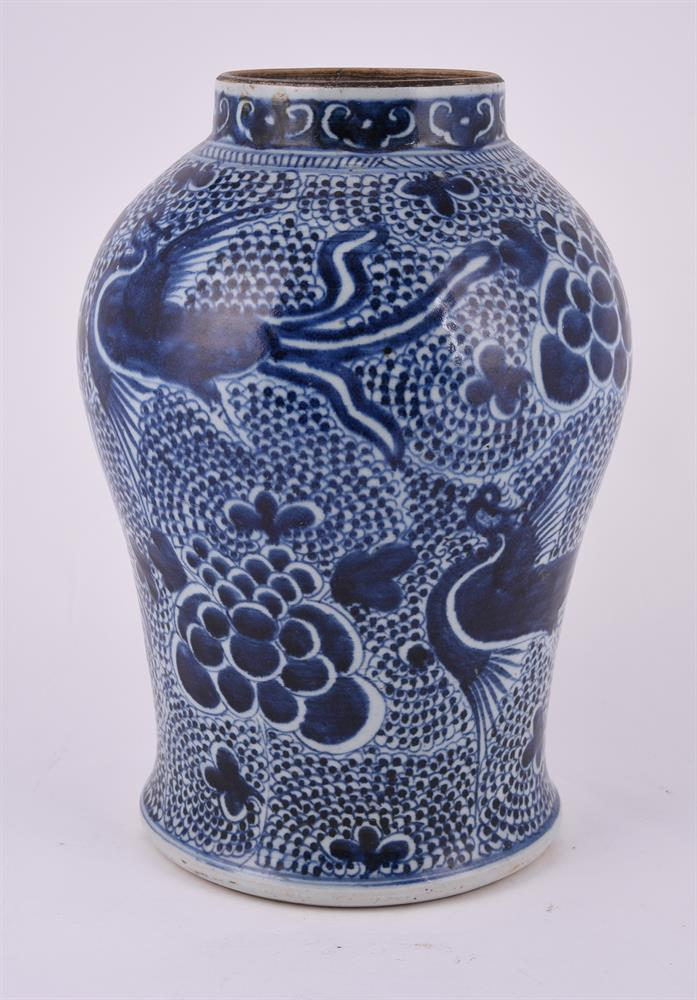A Chinese blue and white 'Phoenix' jar - Image 2 of 3