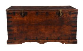 A hardwood and metal mounted chest