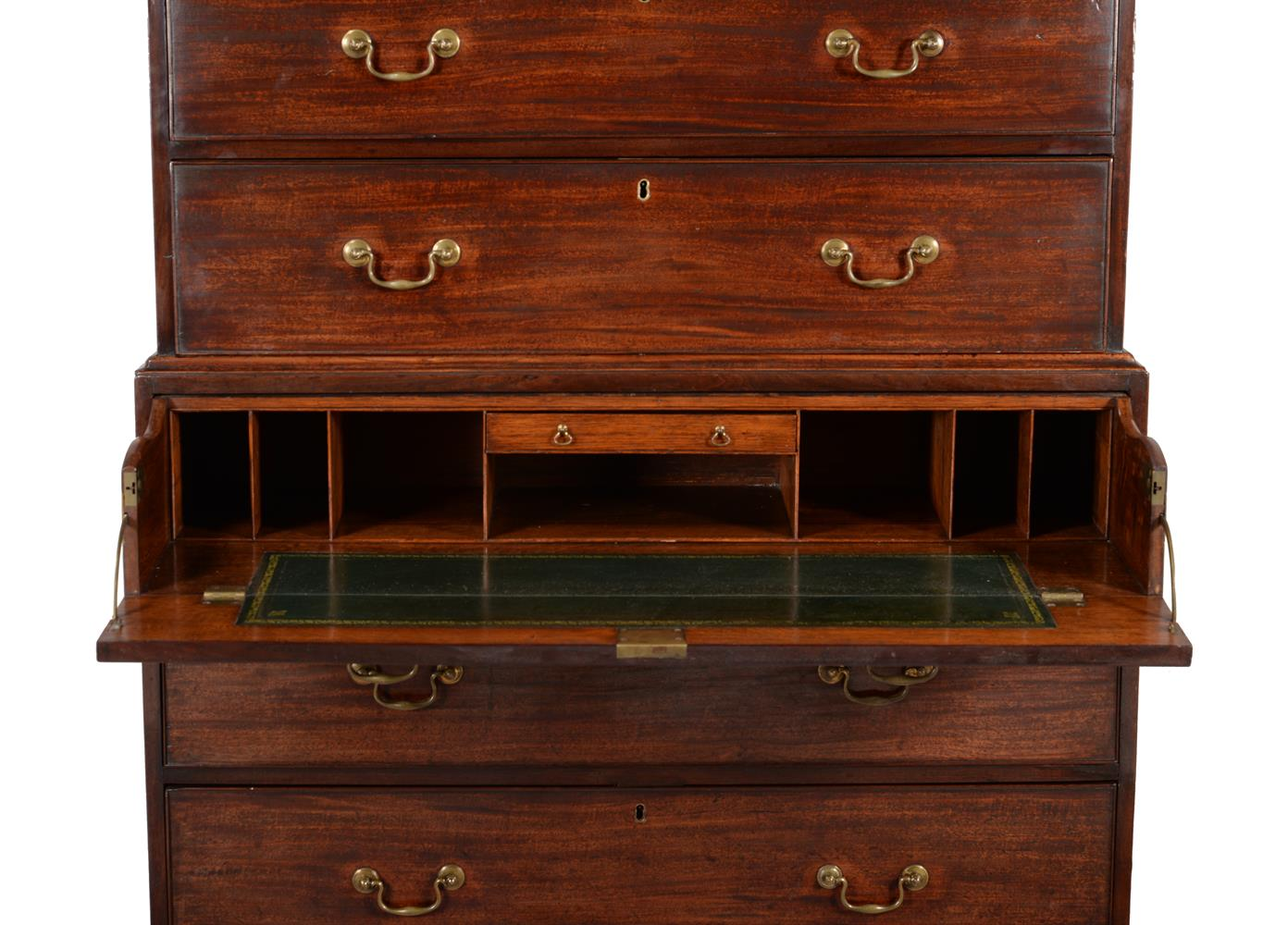 A George III mahogany secretaire chest on chest - Image 2 of 4
