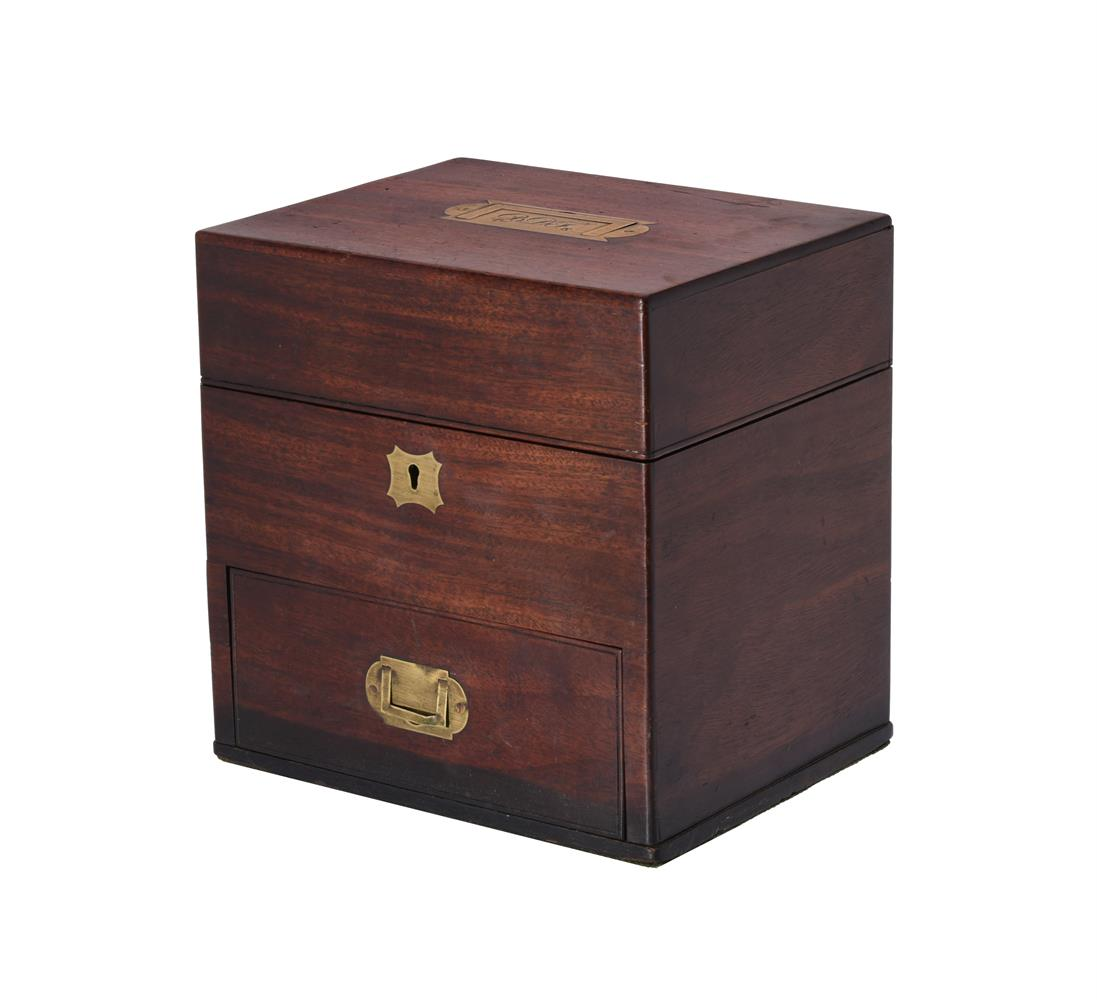 An early Victorian mahogany and brass inlaid apothecary's box - Image 3 of 4