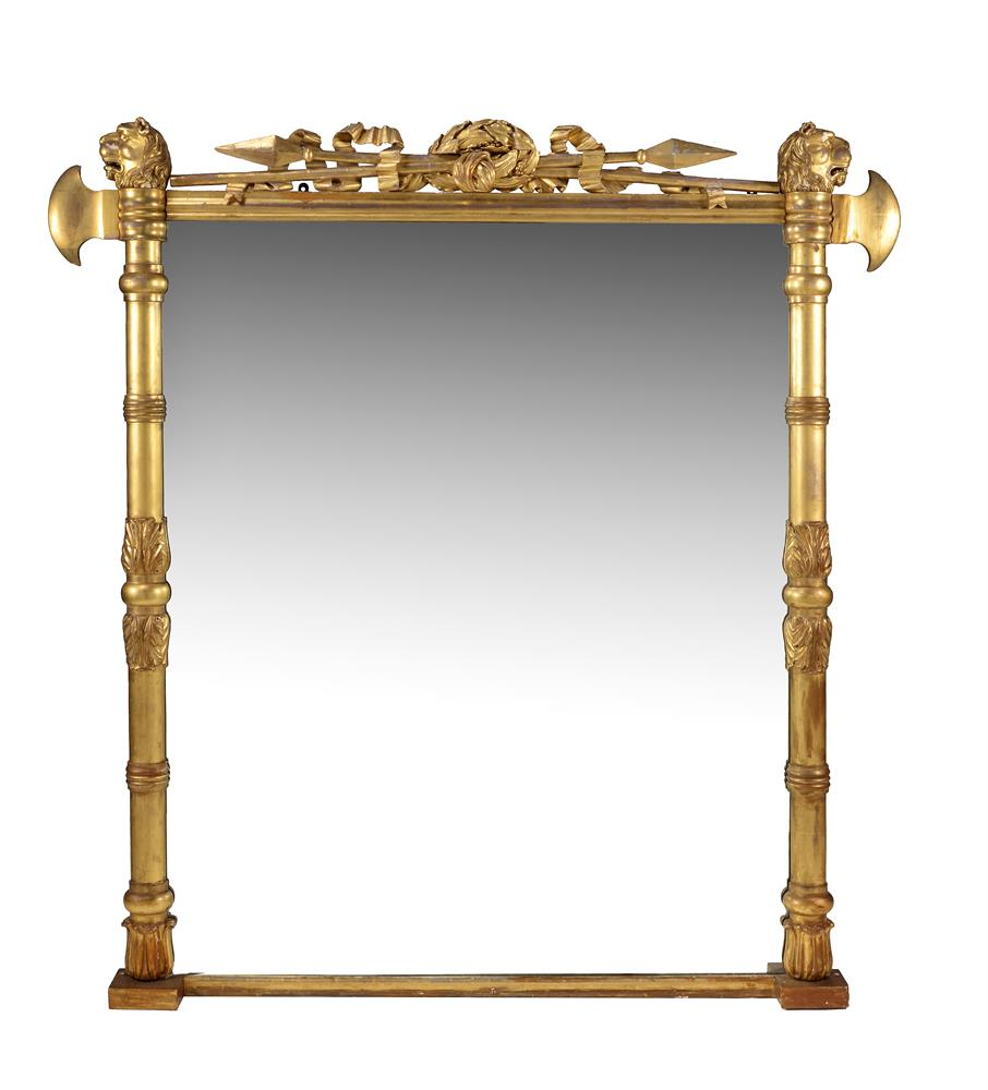 A George IV giltwood overmantel wall mirror