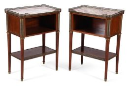 A pair of French mahogany, marble topped, and gilt metal mounted open bedside cupboards