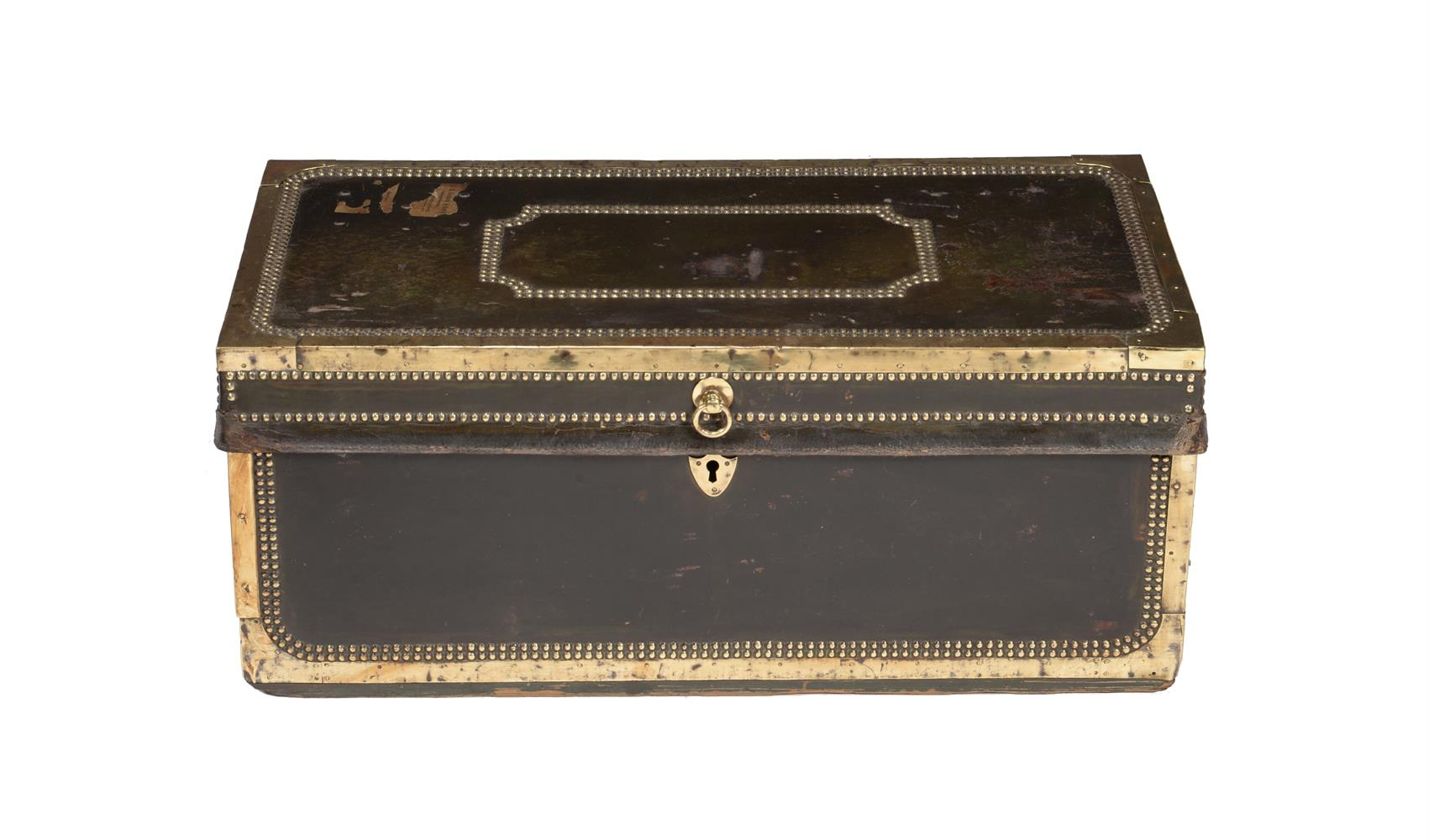 A studded leather and brass bound trunk - Image 2 of 3