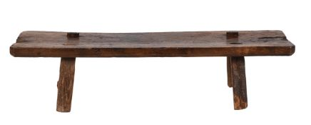 An oak low table or 'pig stool'