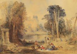 19th century English School- Hawking scene and an Interior Castle scene