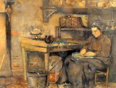 Henricus Mattheus Horrix (Dutch 1845-1923) 'Preparing vegetables'