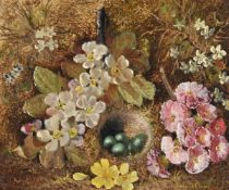 Vincent Clare (British 1855-1930), Flowers with a bird's nest; Fruit in a basket (2)